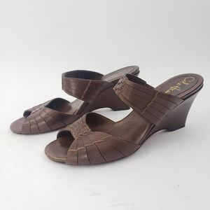 Cole Haan Brown Leather Woven Slide Wedge Sandals